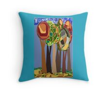 Blue, green, nature, wood, yellow, abstract, pillows Throw Pillow