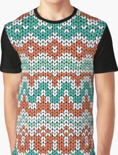 Green and orange knitting pattern. Seamless winter ornament background. Graphic T-Shirt