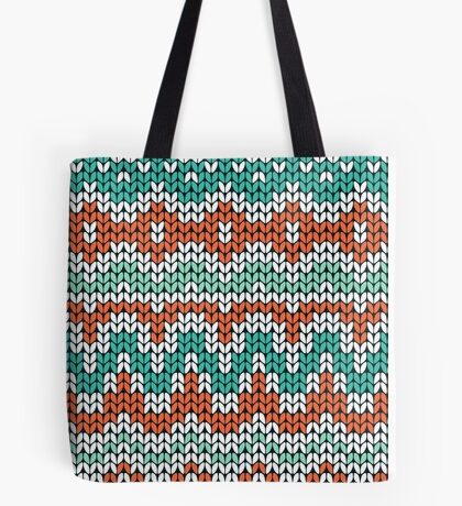 Green and orange knitting pattern. Seamless winter ornament background. Tote Bag