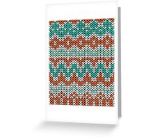 Green and orange knitting pattern. Seamless winter ornament background. Greeting Card