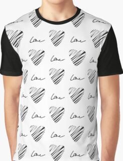 Grunge heart seamless pattern. Simple seamless monochrome wallpaper. Hand drawn background. Graphic T-Shirt