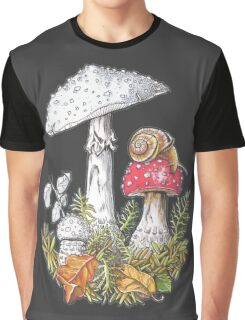 Mushrooms and a snail Graphic T-Shirt