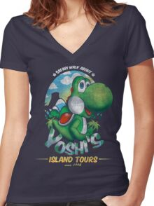 YOSHI'S ISLAND TOURS ! Women's Fitted V-Neck T-Shirt