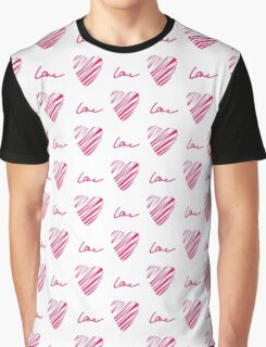 Red heart seamless pattern. Simple seamless monochrome wallpaper. Hand drawn background.  Graphic T-Shirt