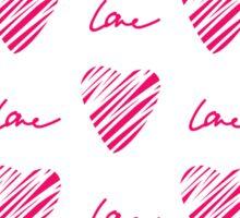 Red heart seamless pattern. Simple seamless monochrome wallpaper. Hand drawn background.  Sticker