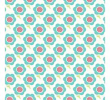 Simple baby pattern. Cute seamless wallpaper. Doodle little blue flower background. Photographic Print