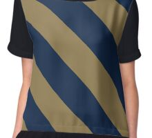 Akron Ohio Navy Blue & Gold Team Color Stripes Chiffon Top