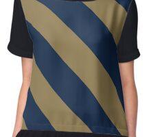 Akron Ohio Navy Blue & Gold Team Color Stripes Chiffon Top