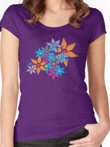 Retro Floral Pattern Women's Fitted Scoop T-Shirt