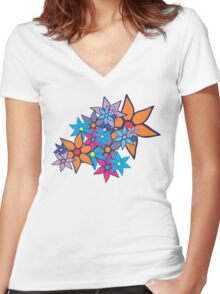 Retro Floral Pattern Women's Fitted V-Neck T-Shirt