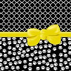 Ribbon, Bow, Dog Paws, Quatrefoil - White Black Yellow by sitnica