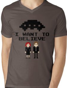 I Want To Believe 8bit Mens V-Neck T-Shirt
