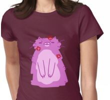 Angry Fluffy Pink Cat Womens Fitted T-Shirt