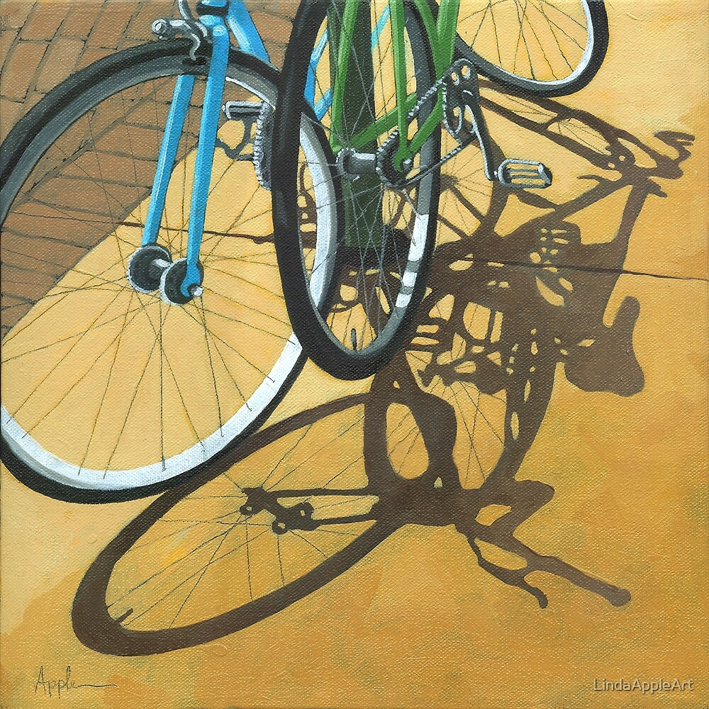 Out to Lunch - Bicycle art by LindaAppleArt