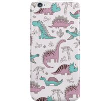 Ornament with dinosaurs, Jurassic Park. Adorable seamless pattern with funny dinosaurs in cartoon iPhone Case/Skin