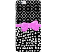 Ribbon, Bow, Dog Paws, Quatrefoil - White Black Pink iPhone Case/Skin