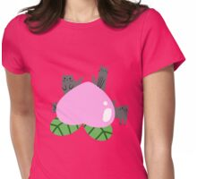 Giant Peach and Little Gray Cats Womens Fitted T-Shirt