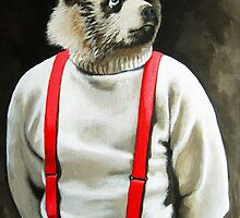 BEAR With Me - animal bear portrait anthropomorphic painting by LindaAppleArt