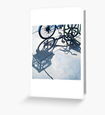 Empty Baskets - bicycle art oil painting Greeting Card