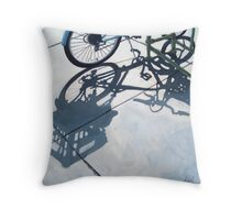 Empty Baskets - bicycle art oil painting Throw Pillow