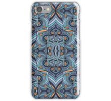 Abstract Doodle Pattern in Blues iPhone Case/Skin