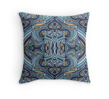 Abstract Doodle Pattern in Blues Throw Pillow