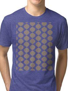 Eames Era Retro 60s Waves Pattern  (Light Cool Brown) Tri-blend T-Shirt