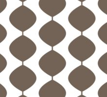 Eames Era Retro 60s Waves Pattern  (Medium Cool Brown) Sticker