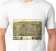 Vintage Pictorial Map of Taunton MA (1875) Unisex T-Shirt