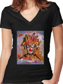 Clowning around with a landscape by Darryl Kravitz Women's Fitted V-Neck T-Shirt