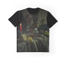 Still life with metal dishes, fruits and red candle Graphic T-Shirt