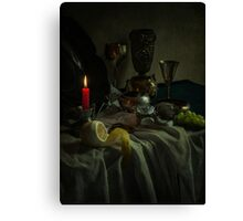 Still life with metal dishes, fruits and red candle Canvas Print