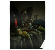 Still life with metal dishes, fruits and red candle Poster