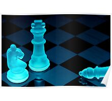 Chess pieces in blue light - Print Poster