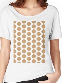 Eames Era Retro 60s Waves Pattern  (Pale Warm Brown) Women's Relaxed Fit T-Shirt