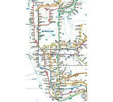MTA-NYC-Manhattan Subway Line/Map Photographic Print