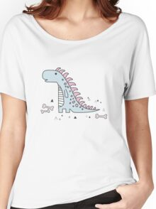 Ornament with dinosaurs, Jurassic Park. Adorable seamless pattern with funny dinosaurs in cartoon Women's Relaxed Fit T-Shirt
