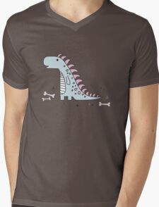 Ornament with dinosaurs, Jurassic Park. Adorable seamless pattern with funny dinosaurs in cartoon Mens V-Neck T-Shirt