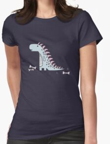 Ornament with dinosaurs, Jurassic Park. Adorable seamless pattern with funny dinosaurs in cartoon Womens Fitted T-Shirt