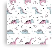 Ornament with dinosaurs, Jurassic Park. Adorable seamless pattern with funny dinosaurs in cartoon Canvas Print