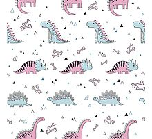 Ornament with dinosaurs, Jurassic Park. Adorable seamless pattern with funny dinosaurs in cartoon Photographic Print
