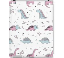 Ornament with dinosaurs, Jurassic Park. Adorable seamless pattern with funny dinosaurs in cartoon iPad Case/Skin