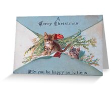 Christmas Greetings with Adorable Kittens Greeting Card