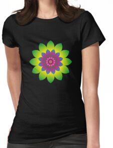 Retro Mandala Flower Power Womens Fitted T-Shirt