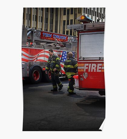 FDNY Firefighter fireman fire truck Illustration Painting Poster