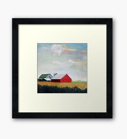 Country Farm Landscape rural Red Barn Framed Print