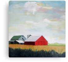 Country Farm Landscape rural Red Barn Metal Print