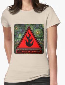 Welding Ω Button Womens Fitted T-Shirt