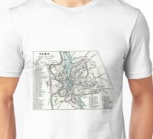 Vintage Map of Rome Italy (1862) Unisex T-Shirt