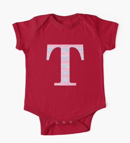 Letter T Blue And Pink Dots And Dashes Monogram Initial One Piece - Short Sleeve